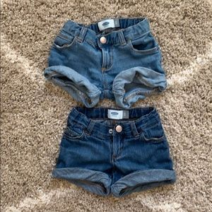 Two pair denim shorts